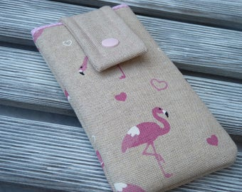 Flamingo phone pouch, Padded phone sleeve, Phone pouch, Fabric phone case, Cell phone cover, Flamingo, gift for her, girl birthday gift