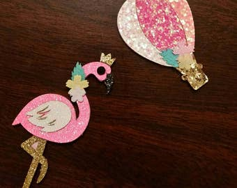Glitter Flamingo and Hot air balloon hair clips