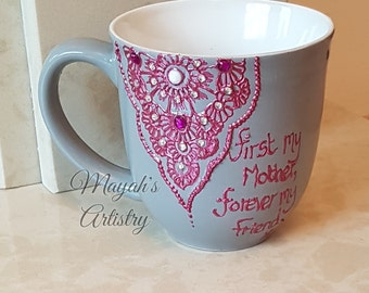 Henna Inspired Mug/Mothers Day/Birthday/Personalised