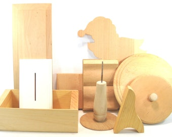 Assortment of Ten Unfinished Wood Shapes for Crafting Projects