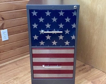 American Patriotic Custom Refinished 2 Drawer File Cabinet / Custom Office Storage / Metal Filing Cabinet