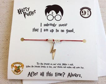 Harry Potter Wish Bracelet, Harry Potter Jewelry, Harry Potter Bracelet, Harry Potter Gift, Harry Potter Party Favors,  Harry Potter Scar