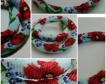 Flower Trending Beadwork Necklace Crochet Poppy Necklace beaded necklace  Choker, Lariat