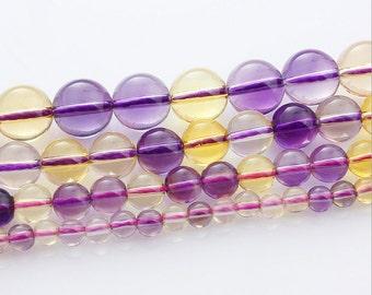 AA grade Amethyst citrine mixed round Ball loose gemstone beads strand 16'' 4mm 6mm 8mm 10mm
