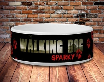 The Walking Dog Personalized Pet Bowls - The Walking Dead Parody in 2 sizes. Small- 25oz Large- 40oz Food Bowl / Water Bowl