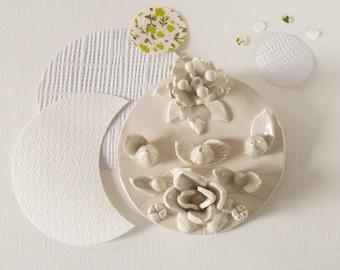 Floral medallion ceramic - unique piece