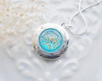 Blue Silver Pressed Flower Locket Necklace Vintage Victorian Queen Anne's Lace Pendant Eco Resin Jewelry Style