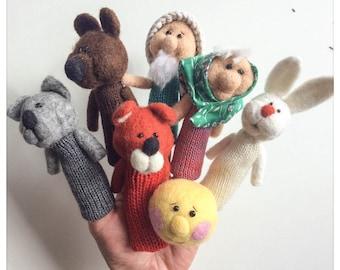 "Finger puppets The little round bun Patty /Roule wool""(little) - wool felted and knitted finger puppets"