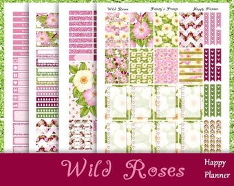 SALE~Wild Roses~Printable Happy Planner Stickers Weekly Kit For The Classic MAMBI Happy Planner