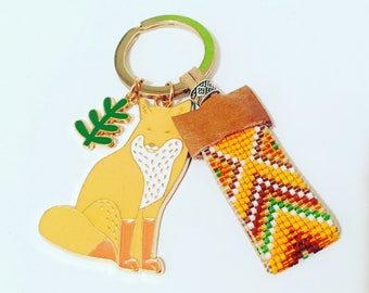 Mr. Fox Beadwork Keychain