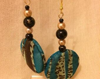 Green Leopard print earrings