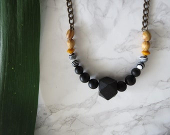 Dark Beaded Necklace Hand made Dark Black colors Metal wood Metal chain Gift for her Valentine's day Gift | Natasha Necklace