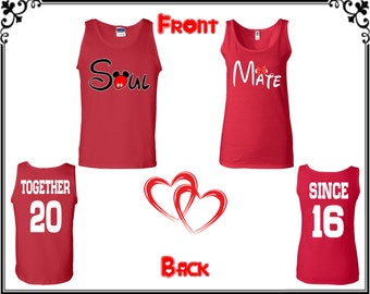 Soul Mate Together Since Couple Tank Top Soul Mate Together Since Front Back Couple Tank Top Soul Mate Couple Tank  Gift For Couple