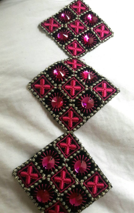 Silk fusia pink embroidered bead applique craft