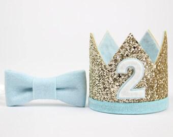 2nd Birthday Glitter Crown | Birthday Party Hat | Boy Second Birthday | Pale Gold + Baby Blue 2