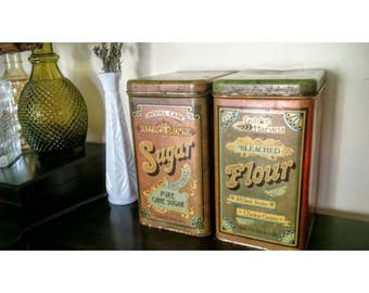 Vintage Cheinco Tin Canisters Retro Kitchen Sugar And Flour
