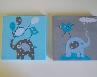 Nursery Baby Blue Gray, Baby Boy Wall Art, Animal Canvas Set, Baby Boy Decor, Shower Gift, Felt and Fabric Wall Art, Wall Decor, Canvas Art