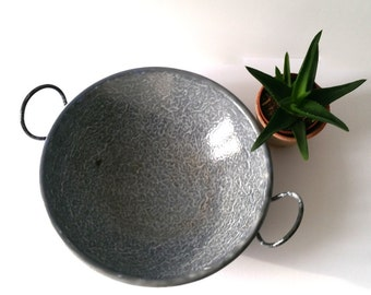 Old-fashioned gray enamel wok