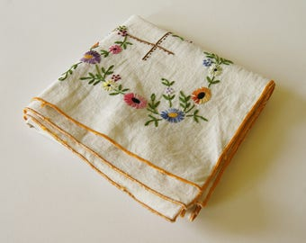 French Vintage Hand Embroidered Small Square Tablecloth Floral Embroidery French Vintage Home Decor Rustic Kitchen Fancy Picnic