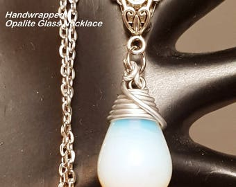 Hand Wire Wrapped Opalite Glass Teardrop Pendant Necklace