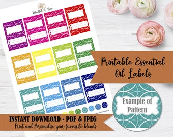 Printable Essential Oil Labels - 10ml Rollerball Labels Geometric Pattern in Bright Rainbow Colors