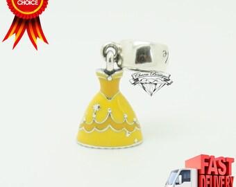 Genuine Pandora, Disney, Belle's Dress Pendant Charm 791576ENMX