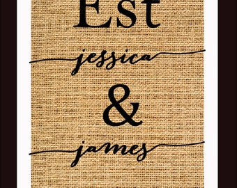 Burlap Print- Perfect Gift for Weddings, Anniversaries and Engagements
