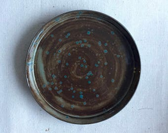 Ceramic Plate, Serving Plate, Handmade, Wheel Thrown, Pottery, Brown, Blue, Turquoise, Drip Glaze, Housewarming, Rustic, Unique