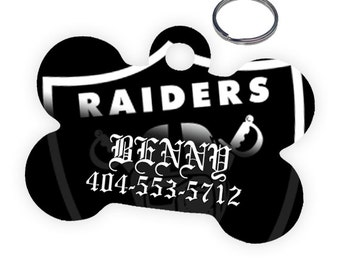 Oakland Raiders Custom Personalized Pet Tag for Dog