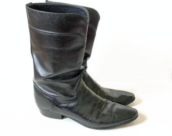 JS Justin Black Leather Boots / Size 9 1/2 D / Riding Boots