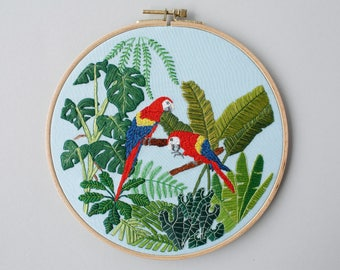 Embroidery picture - parrot jungle