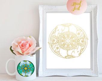 Elephant Mandela Gold Foil A4 Print