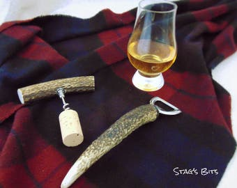 Stag's Antler Bottle Opener and Cork Screw Set