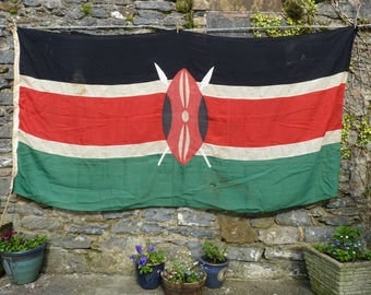 Nzuri Kenya Vintage Flag. African Decor. National Flag