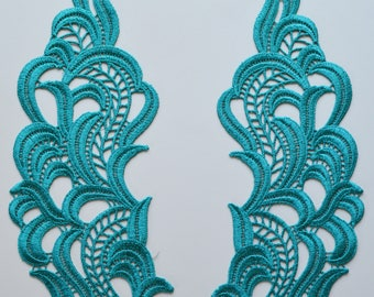Turquoise guipure lace apllication