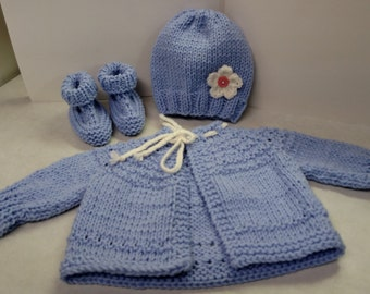 Baby sweater outfit (includes hat and booties)