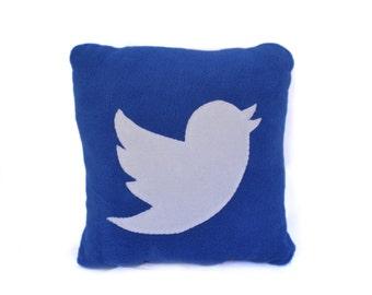 12 x 12 twitter Pillow - handmade pillow - decorative pillow - geekery pillow