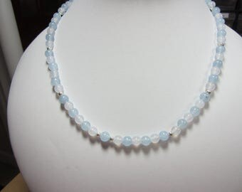 Aquamarine and white jade necklace and stretcy braclet and earrings