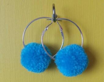 Small Blue Pom Pom Hoop Earrings