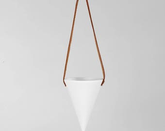 White Conical Hanging Planter
