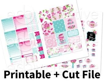 Floral Blue + Pink Tea Party - Weekly Sticker Kit Printable for Erin Condren Horizontal - HWK-008 - INSTANT DOWNLOAD