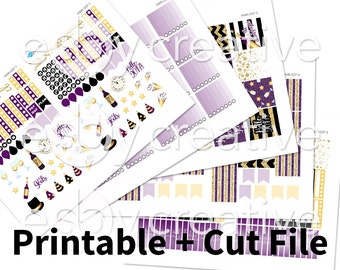 New Years Eve Theme - Weekly Sticker Kit Printable for Erin Condren Horizontal - HWK-037 - INSTANT DOWNLOAD