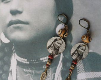 Native American earrings ethnic beads, sequins, feather brass