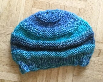 Stylish Blue Green Varigated Hand-Knit Hat Adult Size