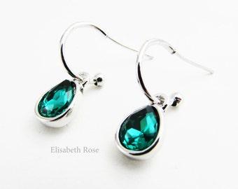 Emerald Green Earrings, Silver Half Hoop Earrings, Green Earrings, Simple Green Earrings, Crystal Green Earrings, Green Half Hoop Earrings