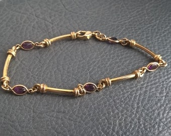 Vintage Gold Plated Amethyst (Glass?) Links Elegant Bracelet