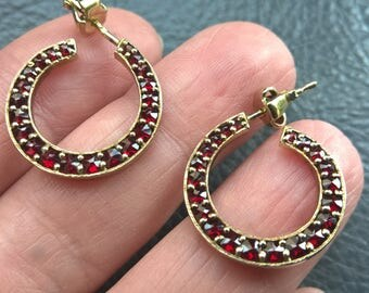 Art Deco 925 Sterling Silver Gold Plating Bohemian Garnet Earrings