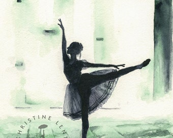 Ballerine Arabesque - Original watercolor Painting 10 x 12 1/2