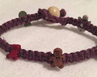 Purple macrame Christmas Bracelet