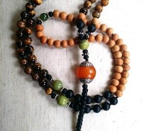 tiger eye, sandalwood and amber mala beads